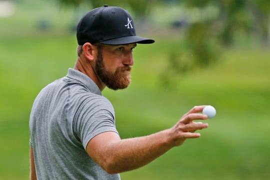 Kevin Chappell tips his ball to the crowd on the ninth hole during the second round of A Military Tribute at The Greenbrier on Friday.