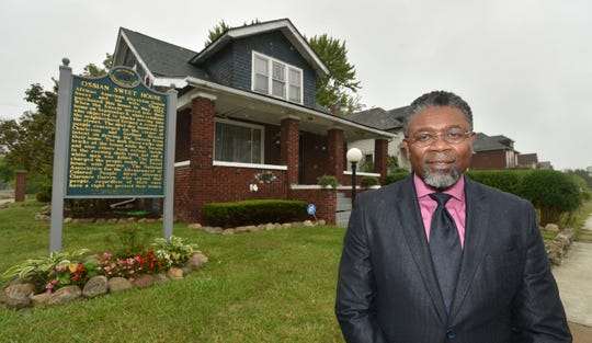 Daniel Baxter, of Detroit, shows off the Ossian Sweet House, his house, at 2905 Garland Street in Detroit. Renovations to this house are part of a federally-funded effort to memoralize the mob violence and racial intolerance that occurred here on September 9, 1925, when Dr. Ossian Sweet and his wife, Gladys, lived here. Baxter grew up in this house.