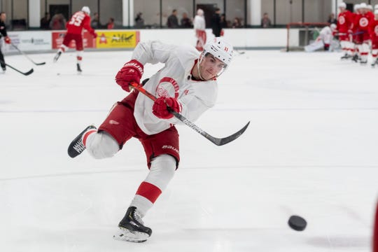 Detroit right wing Filip Zadina takes a shot during practice.