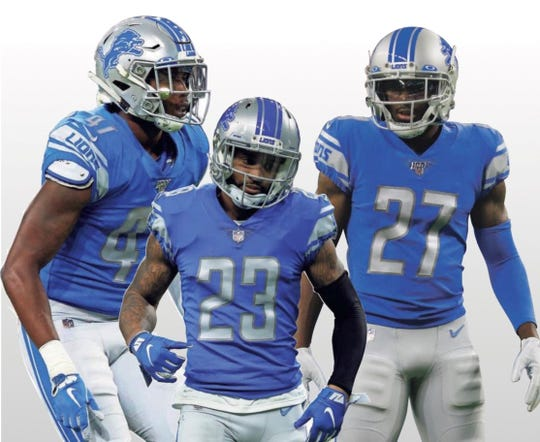 Lions defensive backs Tracy Walker, left, Darius Slay (23) and Justin Coleman (27) go back a long way together.