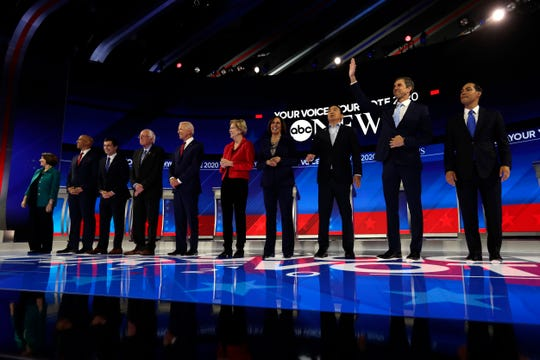Democratic presidential candidates are introduced for the primary debate hosted by ABC on the campus of Texas Southern University Thursday in Houston.