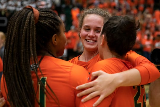 The CSU volleyball team, shown in Thursday's match at Moby Arena, won 3-2 at Colorado on Friday to finish a sweep of the home-and-home series.