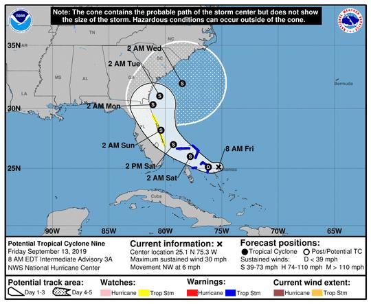 Potential Tropical Cyclone Nine 8 a.m. Sept. 13, 2019