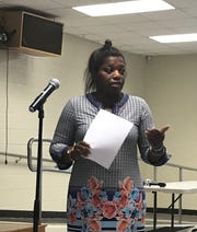 Mauldin parent Ravii Glover speaks in opposition to a Greenville County Schools proposal that would reassign her neighborhood from Mauldin High School to Hillcrest High School at an input meeting on Thursday, Sept. 12, 2019 at Hillcrest Middle School.