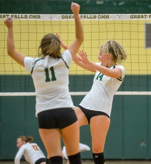 CMR and Missoula Hellgate play on Friday during the Great Falls Invitational Volleyball Tournament. The Rustlers defeated Great Falls High in three sets in the championship bracket to finish third in the tournament.