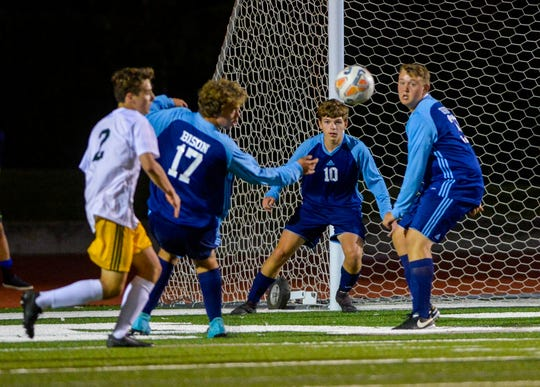 The C.M. Russell boys playing Great Falls High in a crosstown match at Memorial Stadium. Thursday's matches between CMR and Belgrade have been rescheduled for Oct. 15 due to heavy snowcover at Siebel Soccer Fields.