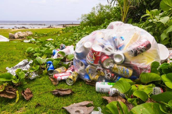 Flies buzz around and inside a bag containing aluminum cans and trash on the side of a trail at Tagachang Beach in this Sept. 13, 2019, file photo. PDN FILE PHOTO