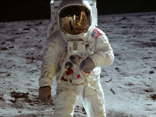 """Buzz Aldrin is seen on the moon in this image from """"Apollo 11,"""" one of the featured films at this year's Heartland International Film Festival."""