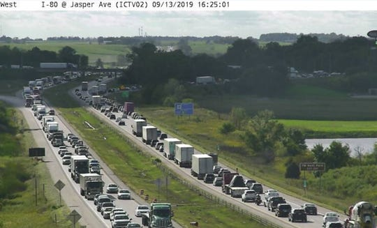 IDOT cameras show traffic on I-80 near Tiffin after an accident on the eastbound lanes on Sept. 13, 2019, at near the I-380/US 218 interchange.