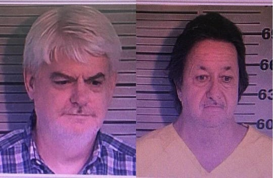 Sam Kelly, 50, left, and Mike Morgan, 61,  right, of Dyersburg, face counts of extortion after allegedly exchanging criminal investigation details for money on Sept. 12, 2019.
