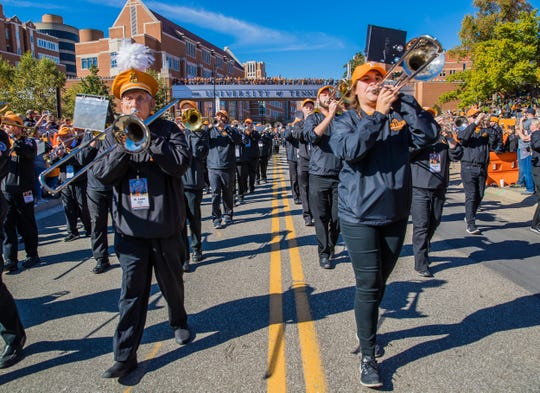 Pride of the Southland Band alumni members of all ages return to the Hill to march during homecoming at UT in 2018. Some members have marched for 30 or more years at homecoming.