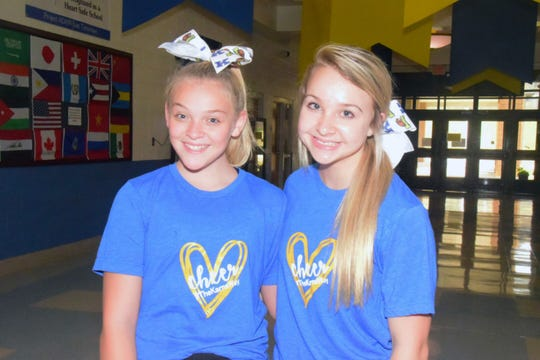 Cheer Captains Reagan Lester, 12 and Emily Zimmerman, 13, said they won't stand for bullying during cheer practice at Karns Middle School Wednesday, Sept. 11.
