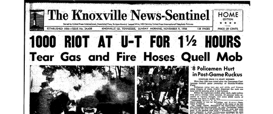 News Sentinel front page from Nov. 9, 1958, when a riot occurred after Tennessee lost to Chattanooga.