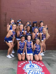 The Karns Middle School Cheer Squad came in first in their division and scored the highest overall at the Tennessee Valley Fair Cheer and Dance Competition held at Chilhowee Park Saturday, Sept. 7. Front, from left: Claire Adkins, Hayley Garrett, Jessie Hankins; second row, Hannah Little, Katelyn Maples, Jerriah Dixon, Reagan Lester, Emily Zimmerman; back, Annabelle Meade, Zaibree Westmoreland, Evelyn McNeeley, Jessica Thompson, Addyson Hutchison. 9 Sept 2019