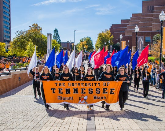 The UT Alumni Band takes a lot of pride in returning to the university to march on homecoming.