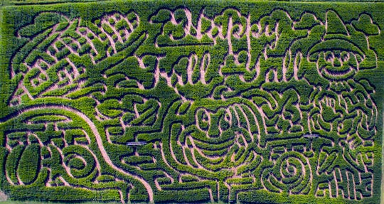 "Oakes Farm's 2019 maze showcases a ""Happy Fall Y'all"" message."