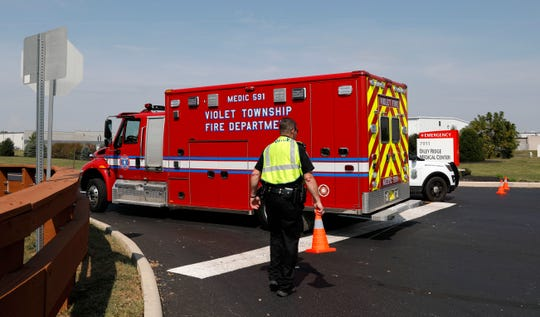 A Violet Township Fire Department ambulance enters Diley Ridge Medical Center Friday afternoon, Sept. 13 2019, in Canal Winchester. Firefighters and law enforcement officers were called to the center's emergency room Friday morning after a pickup truck was driving through the facility's doors. One person died and three were injured.