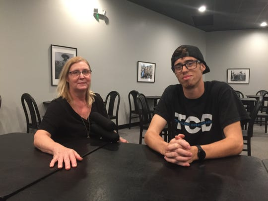 Sandra Blake and her grandson Andrew Sharpe sit in the dining room of Blake's new Mexican restaurant, Mexicali and More, Friday, Sept. 13, 2019.