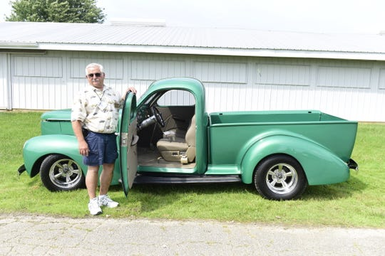 Denny Foust, of Spring Mills, Pennsylvania, shows off his modified 1939 Studebaker Coupe Express at the 2019  Studebaker Drivers Club International Meet in Mansfield.