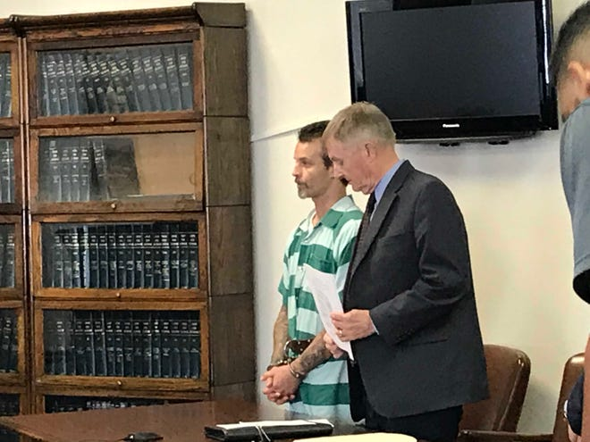 Michael Marchak Jr., 36, of Mansfield, Friday entered a not guilty plea to multiple counts, including two counts of aggravated vehicular assault in reference to a June 27 head-on, wrong way crash on Interstate 71, striking an Ohio State trooper's cruiser. Marchak stands in Morrow County Common Pleas Court with his attorney William Leber.