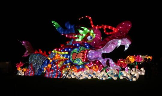 A walk-through dragon tunnel at the China Lights lantern festival, at Boerner Botanical Garden through Oct. 20.