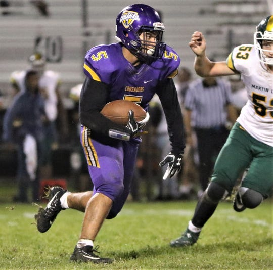 Racine Lutheran running back Tyler Tenner takes a hand-off against Martin Luther on Sept. 12, 2019.
