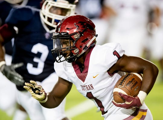Dothan wide receiver Jabre Barber (1) carries the ball against Park Crossing at Cramton Bowl in Montgomery, Ala., on Thursday September 12, 2019.