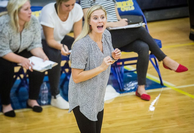FILE -- Wapahani head coach Kati Weir relays instructions during her team's game against Burris at Burris High School on Sept. 12, 2019.