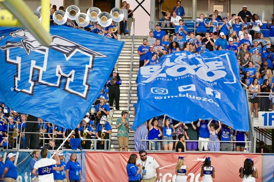 The Blue Zoo pumps up the crowd during MTSU's game against Tennessee State on September 7, 2019.