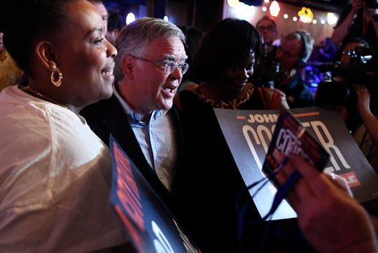 Mayor-elect John Cooper greets supporters after his victory speech at his election night event Sept. 12, 2019, at Nashville Palace.