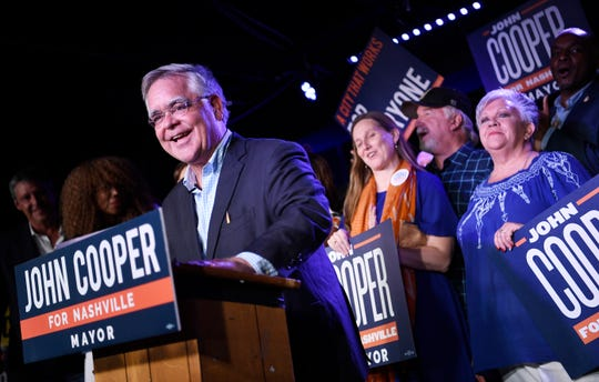 Mayor-elect John Cooper speaks at his election night event at Nashville Palace in Nashville, Tenn., Thursday, Sept. 12, 2019.