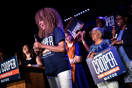 Cooper Campaign Chairwoman and former Metro Councilwoman Brenda Haywood introduces Mayor-elect John Cooper at his election night event at Nashville Palace in Nashville, Tenn., Thursday, Sept. 12, 2019.