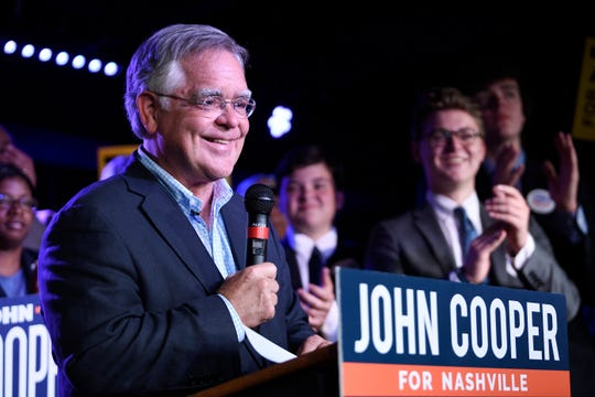 Mayor-elect John Cooper speaks to supporters during his victory event at Nashville Palace in Nashville, Tenn., Thursday, Sept. 12, 2019.