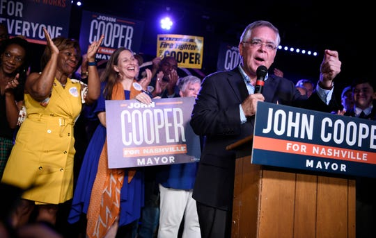 Mayor-elect John Cooper speaks to supporters during his election night event at Nashville Palace in Nashville, Tenn., Thursday, Sept. 12, 2019.