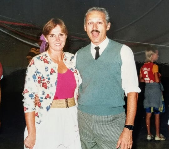 Jackie Frodsham and her husband in 1986