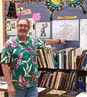 Ron Laffin, in his father's shirt, during his years teaching art