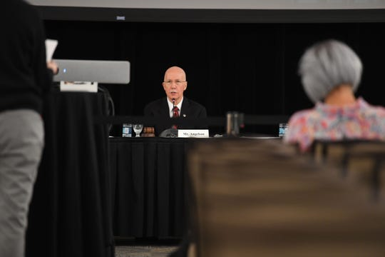 Board of Governors Chair Mark Angelson speaks during a Presidential Search Committee Town Hall meeting at Livingston Hall in Piscataway on Thursday, September 12, 2019.