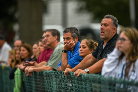 Paramus plays Mahwah in a girls soccer match in Paramus on Thursday September 12, 2019. Spectators watch the game from the fence.