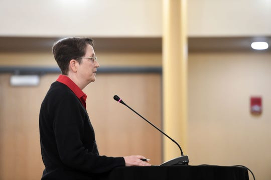Kathryn Neal, Steward of the Union of Rutgers Administrators, speaks to the Presidential Search Committee during a Town Hall meeting at Livingston Hall in Piscataway on Thursday, September 12, 2019.