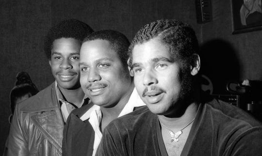 "The Sugarhill Gang, 1979.  From left, Guy O'Brien, Hank Jackson and Michael Wright. Their record, a first-time effort called ""Rapper's Delight,"" has sold a million copies."