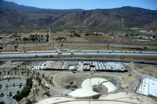 A new valet parking structure, center, is currently under construction as seen here from the 27th floor of the Morongo Casino in Cabazon, Calif., on Thursday, September 12, 2019.