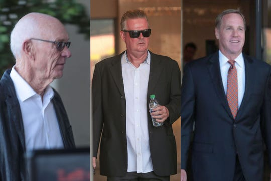 Developers John Wessman, left, Richard Meaney, center, and former Palm Springs Mayor Steve Pougnet, right, were arraigned Thursday, Sept. 12, 2019 at the Larson Justice Center in Indio. Charged in a bribery and corruption case, Wessman, Meaney and Pougnet each pleaded not guilty.