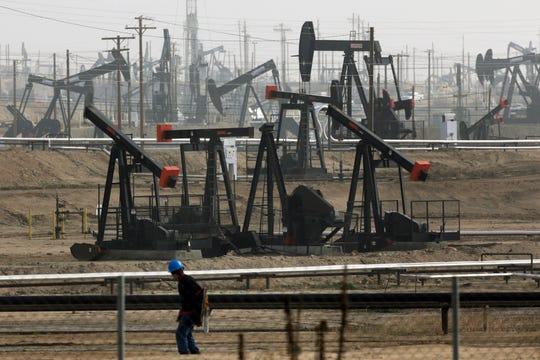Pumpjacks operating at the Kern River Oil Field, in Bakersfield, Calif., in 2015.