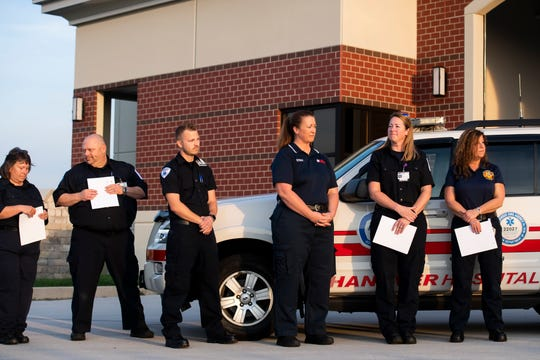 First responders are recognized for their actions during a clinical save awards ceremony at S.A.V.E.S. in Conewago Township Tuesday, Sept. 10, 2019. In total, 25 people received awards from the Emergency Health Services Federation for their roles in two cardiac arrest incidents in July.