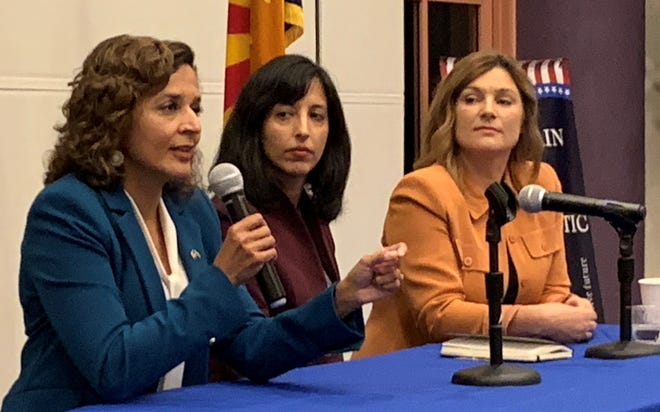 Hiral Tipirneni (left) outlines her political agenda as fellow Democrats Anita Malik and Stephanie Rimmer listen at a candidates forum on Sept. 12, 2019, in Fountain Hills.