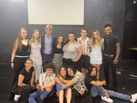 """The cast and crew of """"Columbinus"""" at Greasepaint Youtheatre in Scottsdale with artistic director Maureen Dias-Watson."""