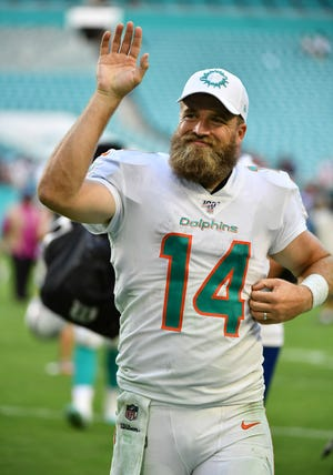 Miami Dolphins quarterback Ryan Fitzpatrick (14) is closing in on 200 career NFL touchdown passes. He went to Gilbert Highland High in Arizona.