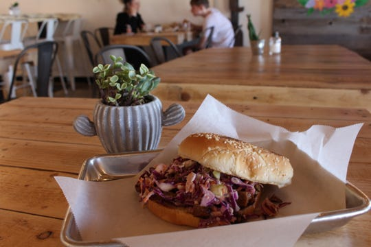 Family-owned restaurant Earth Plant Based Cuisine serves vegan Mexican food.