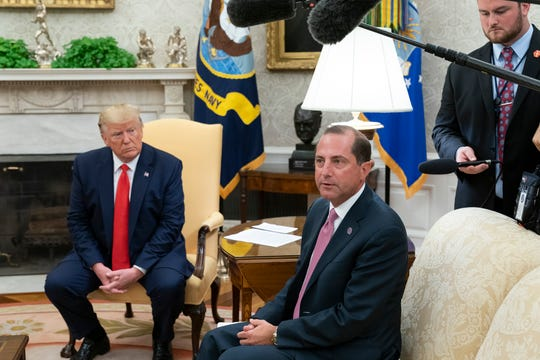 Health and Human Services Secretary Alex Azar, with President Donald Trump at a White House event to announce a plan to remove flavored e-cigarette products from the market to stem what he calls addictive to youth.