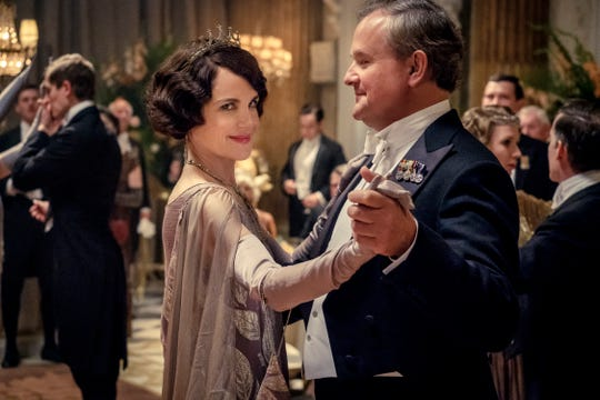 "Lord Grantham (Hugh Bonneville) and his wife (Elizabeth McGovern) dance in ""Downton Abbey."""